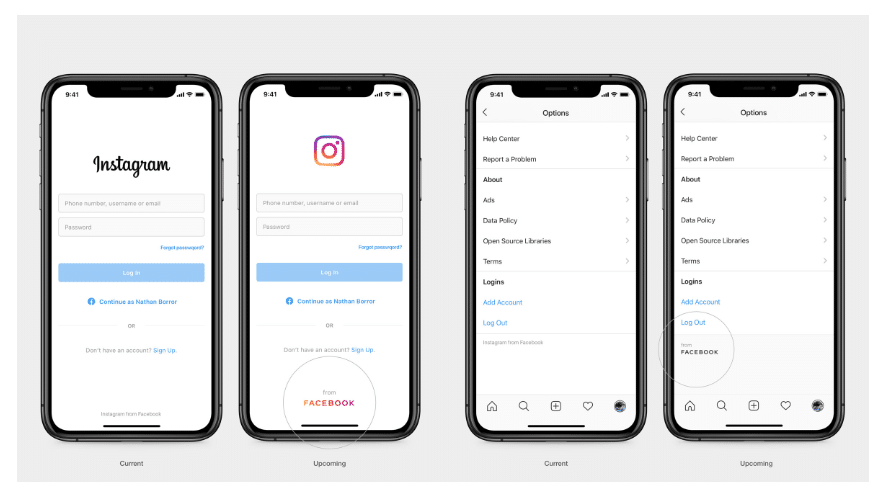 Facebook re-branding 2019 and its appearance on Instagram